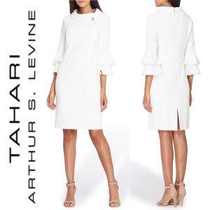 TAHARI Ivory Ruffle Sleeve Broach Collar Dress